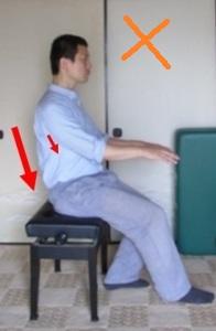 指先が鍵盤に向かうときに、背中の押し下げがち